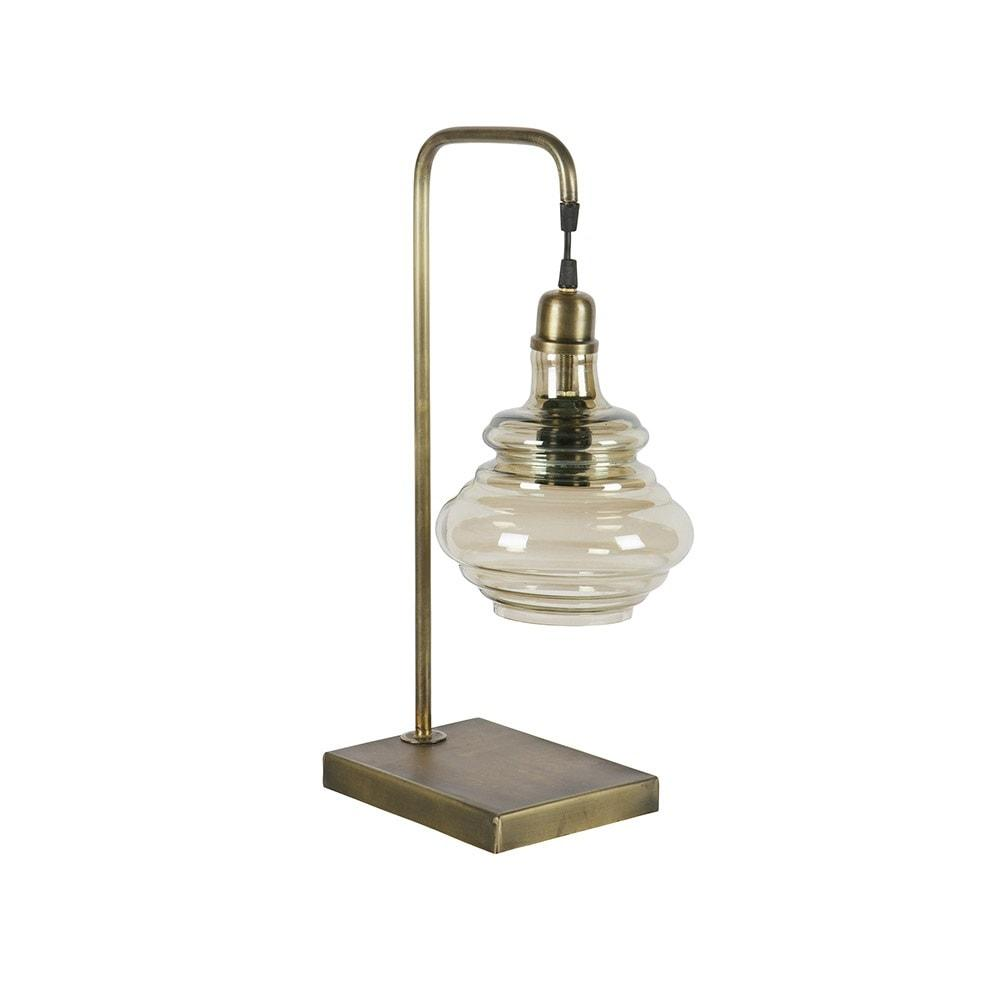 Beside Side Lamp With Antique Brass Finish
