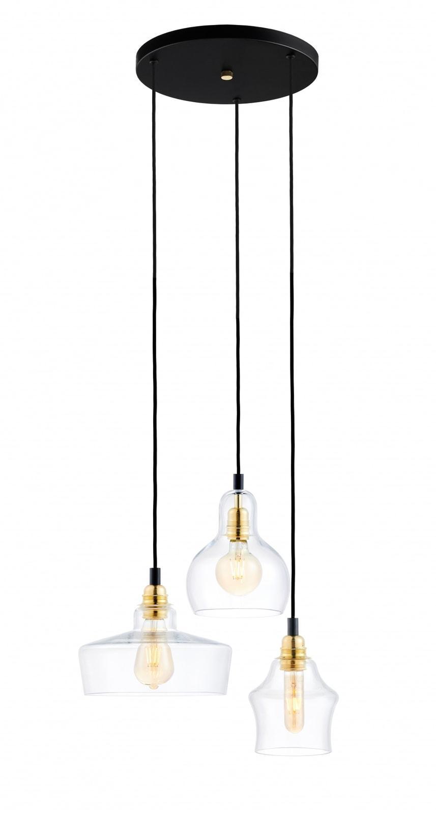 Longis Lampa Wiszaca 3 Gold Kolor Czarny Transparent Zloty 1864