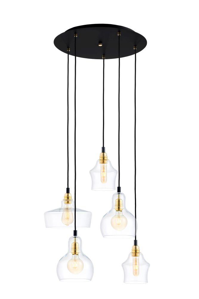 Longis Lampa Wiszaca 5 Gold Kolor Czarny Transparent Zloty 2352