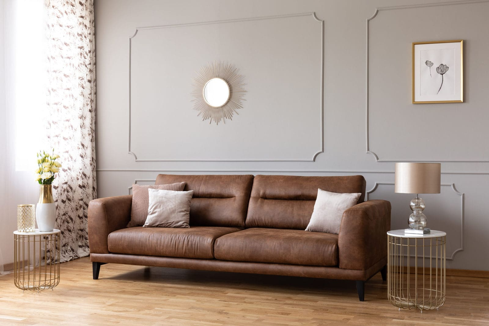 A Leather Sofa In An Elegant Living Room (1)