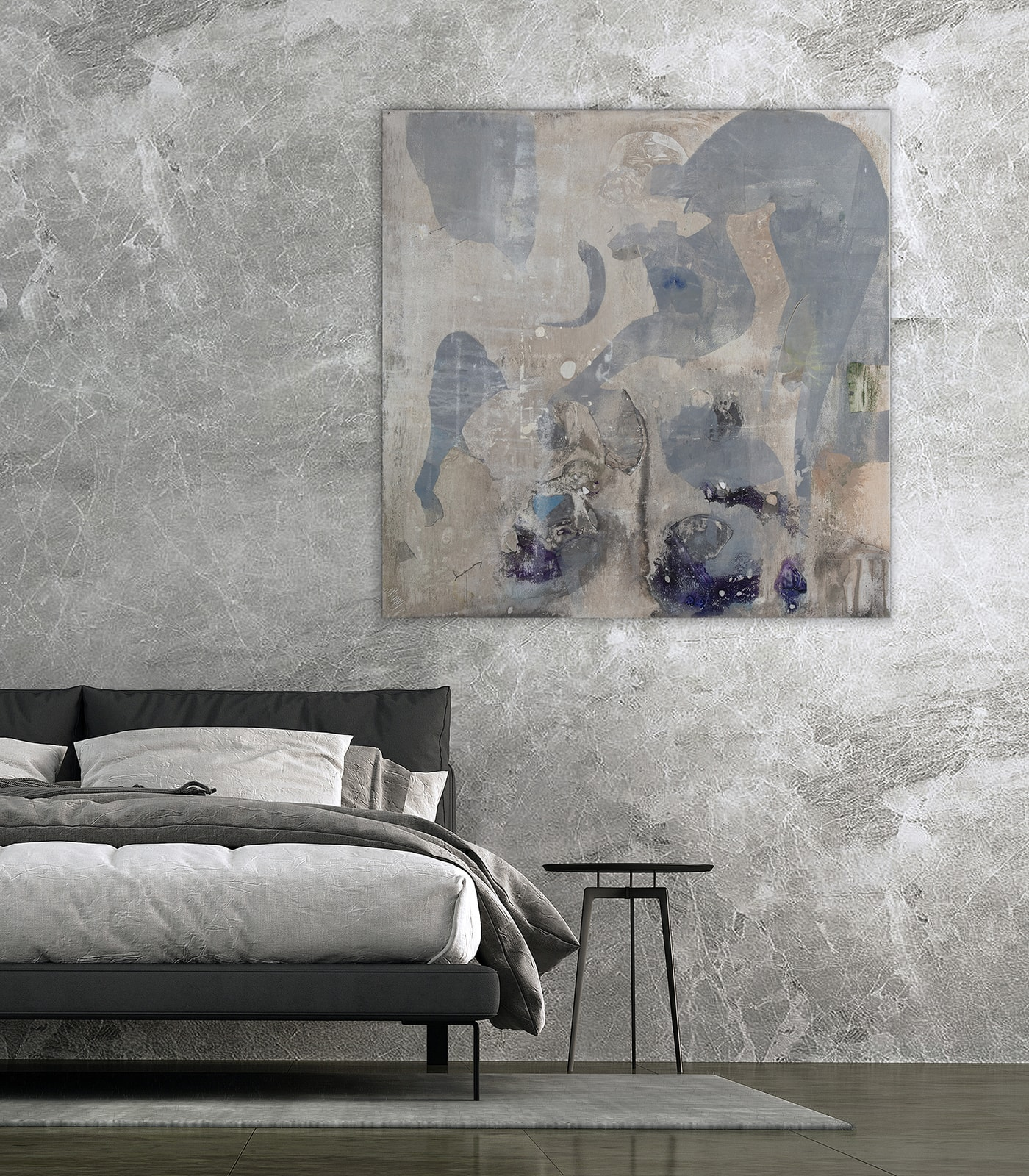 Minimal Nordic Bedroom Interior Design And Marble Wall Texture B