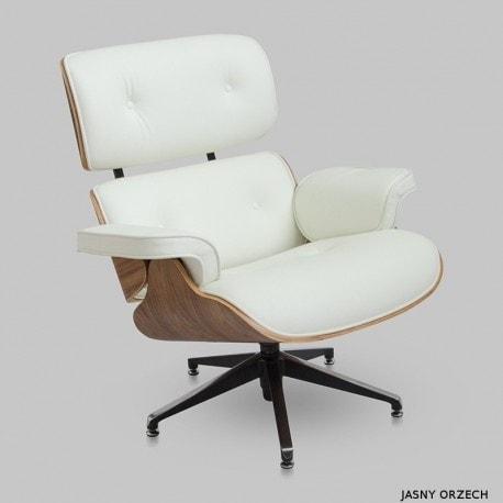Fotel Tokyo Eames Biała Skóra Jasny Orzech 5