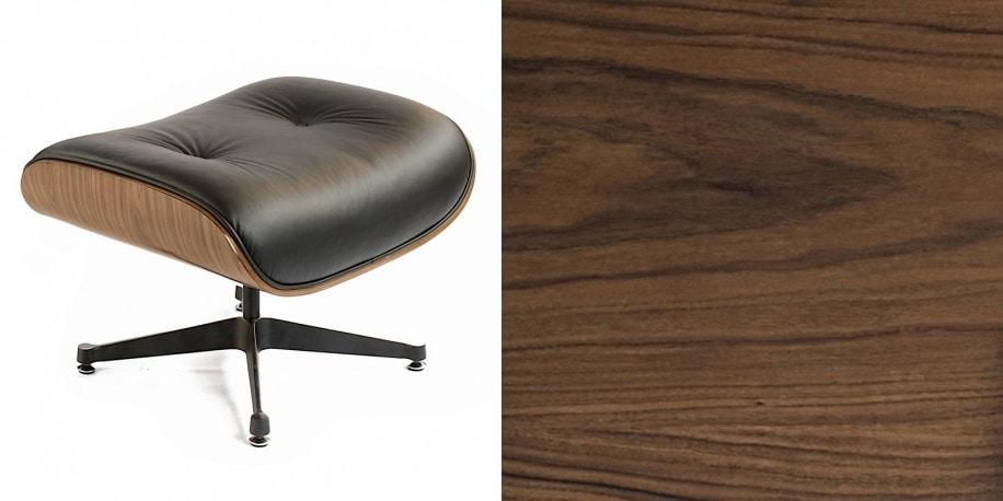 Podnozek Tokyo Pufa Wroclaw Designerski Eames Design Inspirowane Czarna Skóra Jasny Orzech 2 (1)