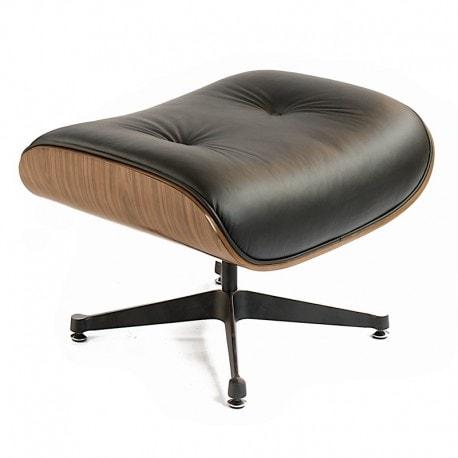 Podnozek Tokyo Pufa Wroclaw Designerski Eames Design Inspirowane Czarna Skóra Jasny Orzech 2